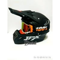 Helm Jpx Cross Trail Trabas Klx Black Dof Solid Kacamata Goggle Bonus