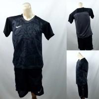 Setelan Baju/Kaos Sepak Bola/Futsal Dri-Fit Print Kids/Anak Nike Hitam
