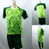 Setelan Baju/Kaos Sepak Bola/Futsal Dri-Fit Print Kids/Anak Nike Hijau