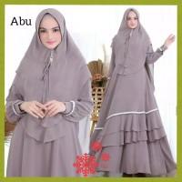 setelan baju gamis syari wanita+jilbab dress jumbo xxl maxi abu