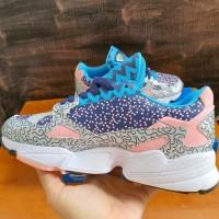 Sepatu Adidas Falcon Pattern Blue Grey Pink Premium Original Wanita