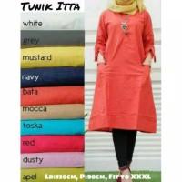 Baju tunik jumbo wanita muslim Long Kemeja ITTA XXXL Tangan serut