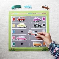 Busy Page Memarkir Kendaraan Sesuai Warna (dengan magnet)