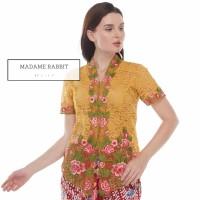 Baju Kebaya Madame Rabbit Atasan Pesta Kuning Bordir Bunga Cantik