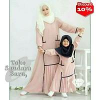 Couple muslim ibu dan anak Syari Elvior 2 warna-ags Gamis couple murah