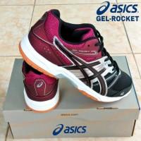 Sepatu Asics Gel Rocket Original Badminton tenis voli hitam ungu