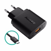 AUKEY WALL CHARGER PA-U28 USB WITH QUICK CHARGE 2.0 HITAM 18W ORIGINAL