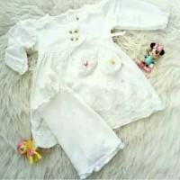 Gamis anak bayi baru lahir baju muslim perempuan putih aqiqah