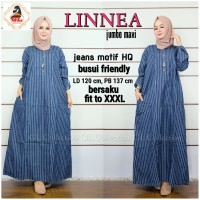 Baju gamis busui bahan jeans size jumbo, gamis jeans jumbo - Linnea