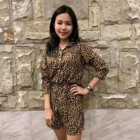 Jumpsuit Celana Pendek Tangan Panjang Loreng Motif Macan Tutul/Glr 522