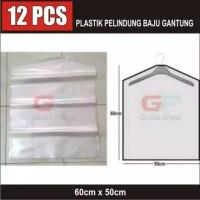 12 PCS PLASTIK BAJU GANTUNG PELINDUNG COVER ATASAN KAOS 50 X 60CM