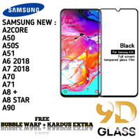 SAMSUNG A70 A71 A51 Tempered Glass/ Anti Gores Kaca Full Lem 5D/9D - Hitam