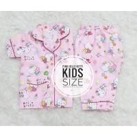 Piyama Anak Katun Jepang Pink Hello Kitty Baju Pendek Celana Panjang