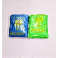Bambu jas hujan plastik kresek cap bambu model poncho-ponco - Biru Atau Hijau