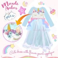 Gamis Karakter Anak Baju Muslim Dress Unicorn Face Biru MA-32D 95-