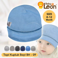 Topi Kupluk Bayi Baby Leon Lucu Halus dan Lembut - Light Blue
