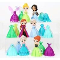 Princess Frozen Tinkerbell Ganti Baju 6 Dress 18 Mainan Miniatur FG645