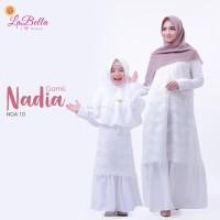 Nadia 10 Baju Muslim Gamis Couple Ibu Anak Labella Brukat Nadia White
