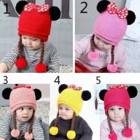 topi rajut bayi perempuan/topi kupluk rajut anak/baby hat impor