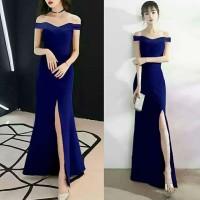 Dress sabrina import bahan scuba Fit L warna biru dongker