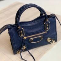 Balenciaga Mini City Edge Grained Calfskin Leather with A Long Strap