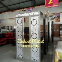 Bakoel Mebel - Lemari Pakaian 3p Aluminium Kaca Luar