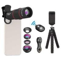 APEXEL Lensa Kamera Smartphone Set 4 In 1 + Shutter + Mini Tripod