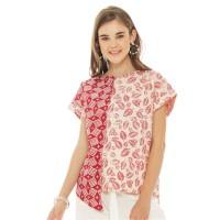 Beatrice Clothing Arumi Batik Blouse in White-Red
