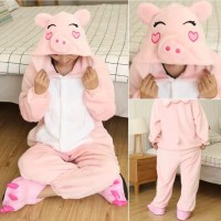 BAJU PIYAMA ONESIE PIG PIGGY BABI KOSTUM PARTY COSPLAY