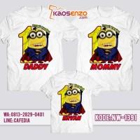 Jual Baju Couple Keluarga / Kaos Ultah Anak Desain Kaos Minion NW 1391