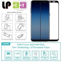 LP Full Glue Tempered Glass Samsung Galaxy A8 Plus (2018) - Kaca Ori