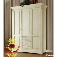 Lemari pakaian minimalis pintu 3 duco white kayu jati furniture jepara