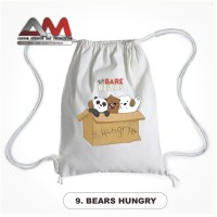 Tas Serut Backpack Drawstring Bag We Bare Bears Anti Air ( Waterproof)