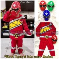 Baju Setelan Anak Kostum + Topeng SuperHero Power Rangers