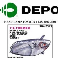 ` Lampu depan Head Lamp Toyota Vios 2002 2003 2004 Kanan Kiri Depo