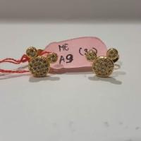 Anting giwang motif mickey mouse mata zircon lapis emas kuning 18k
