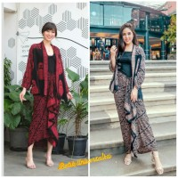 Setelan Cardigan Rok Rempel Panjang Batik Set Kebaya Modern -Boneka