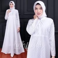 Baju gamis haji & umroh wanita-gamis putih-tanpa BERGO-setelan celana