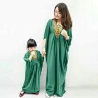 Baju Muslim Couple Mom n Kid Panjang Busana Lebaran Warna Hijau -