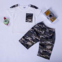 Terbaik Set Kaos T-Shirt Lengan Pendek Motif Print Camo + Celana