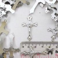 * Bandul Salib Cross Logam Warna Nikel Bahan Kalung Rosario Besar