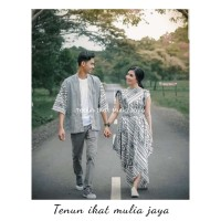 setelan baju couple pre wedding tenun batik sarimbit kimono dress