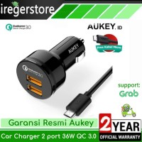 Car Charger Mobil Aukey 2 Ports Quick Fast Charger HP QC 3.0 Original