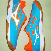 Sepatu Futsal Mizuno Sala classic 2 IN (Atomic Blue/White/Orange)