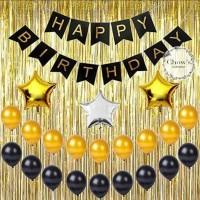 Paket Dekorasi Hiasan Balon Ulang Tahun Happy Birthday Tema Gold 01