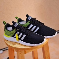 Sepatu pria ADIDAS LITE RACER BLACK GREEN STABILO