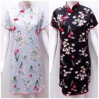 Cheong Sam Wanita Dress cheongsam bunga/ imlek / Scuba stretch/remaja