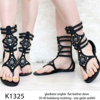 Kode K132 Angkle Gladiator Flat Shoes Leather Import