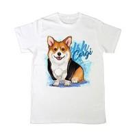 Kaos /T shirt/Baju/Kaos gambar hewan/Kaos gambar anjing CORGI jepang