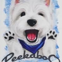Kaos /T shirt/Baju/Kaos gambar hewan/Kaos gambar anjing WESTIE Peekebo